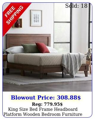 king size bed frame headboard platform wooden bedroom furnitur