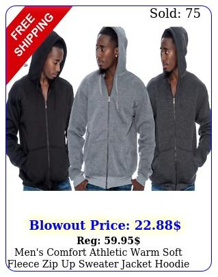 men's comfort athletic warm soft fleece zip up sweater jacket hoodie bran