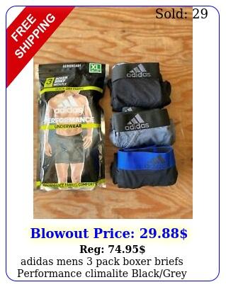 adidas mens pack boxer briefs performance climalite blackgrey size mlx