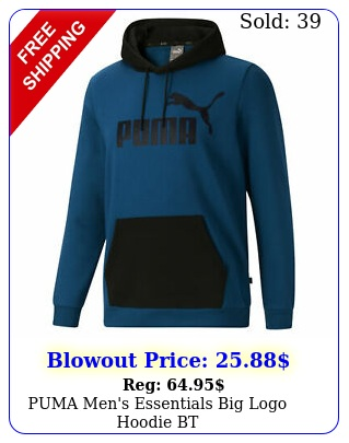puma men's essentials big logo hoodie b