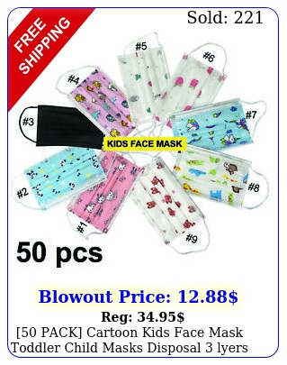 pack cartoon kids face mask toddler child masks disposal lyers usa selle