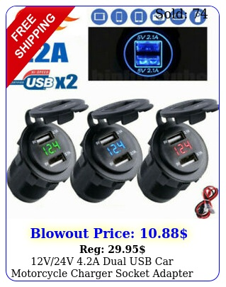 vv a dual usb car motorcycle charger socket adapter outlet led voltmete
