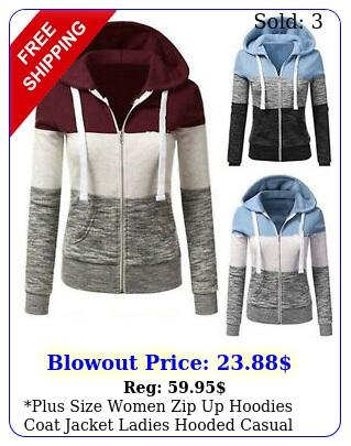 plus size women zip up hoodies coat jacket ladies hooded casual sweatshirt top