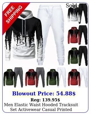 men elastic waist hooded tracksuit set activewear casual printed sweatshirt top