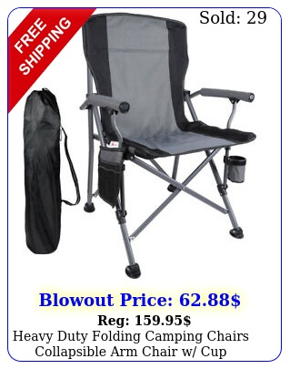 heavy duty folding camping chairs collapsible arm chair w cup holders carry ba