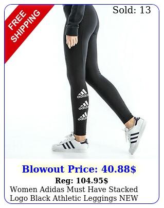 women adidas must have stacked logo black athletic legging
