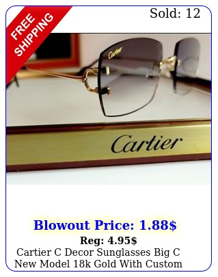 cartier c decor sunglasses big c model k gold with custom black gradien