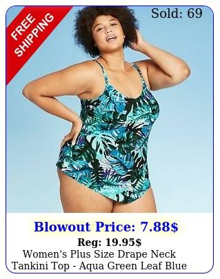 women's plus size drape neck tankini top aqua green leaf blue