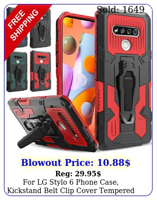 lg stylo phone case kickstand belt clip cover  tempered glass protecto
