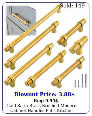 gold satin brass brushed modern cabinet handles pulls kitchen hardware stainles