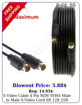 s video cable pin mm svhs male to male svideo cord ft ft ft ft  lo