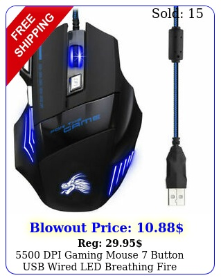 dpi gaming mouse button usb wired led breathing fire button laptop p