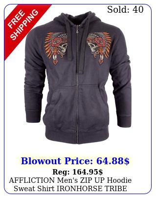 affliction men's zip up hoodie sweat shirt ironhorse tribe biker mm