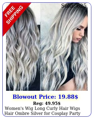 women's wig long curly hair wigs hair ombre silver cosplay party daily us