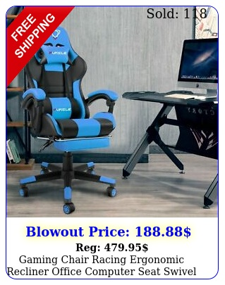 gaming chair racing ergonomic recliner office computer seat swivel footres