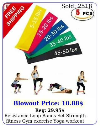 resistance loop bands set strength fitness gym exercise yoga workout pull u
