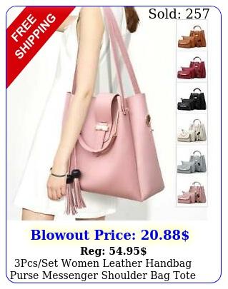 pcsset women leather handbag purse messenger shoulder bag tote wallet clutc