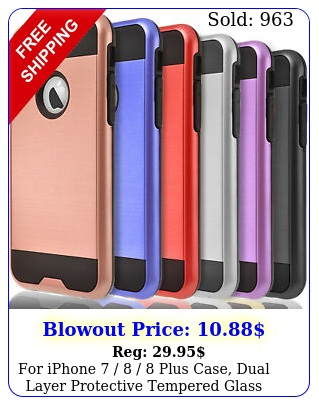 iphone   plus case dual layer protective tempered glass protecto