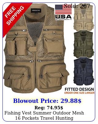 fishing vest summer outdoor mesh pockets travel hunting photography jacke