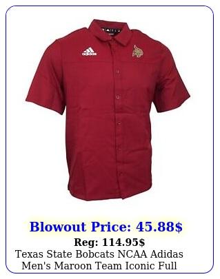 texas state bobcats ncaa adidas men's maroon team iconic full button polo shir