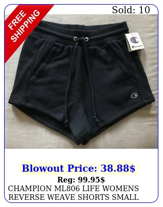 champion ml life womens reverse weave shorts small black with tag