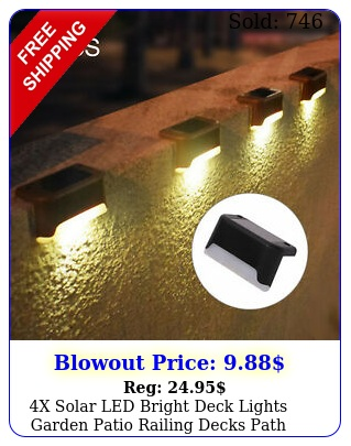 x solar led bright deck lights garden patio railing decks path blackbrow