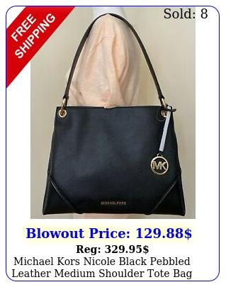 michael kors nicole black pebbled leather medium shoulder tote bag purs