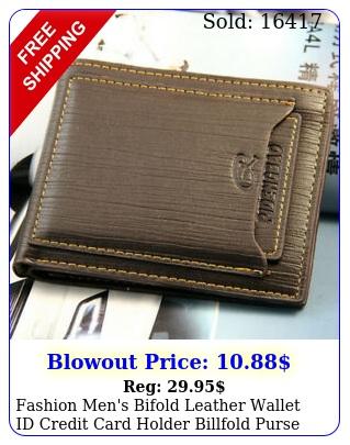 fashion men's bifold leather wallet id credit card holder billfold purse clutc