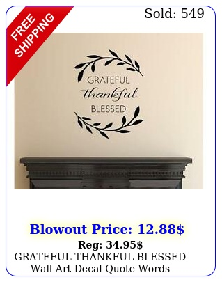 grateful thankful blessed wall art decal quote words lettering deco