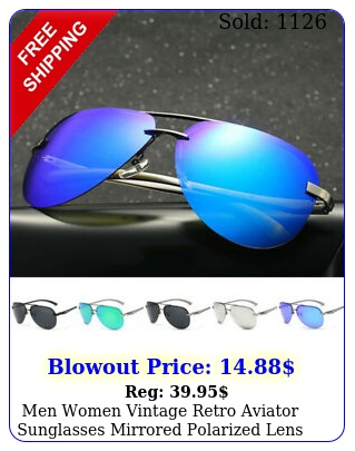 men women vintage retro aviator sunglasses mirrored polarized lens metal fram