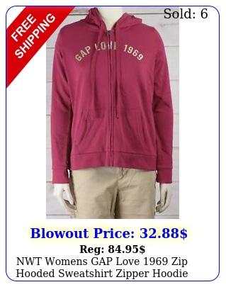 nwt womens gap love zip hooded sweatshirt zipper hoodie very berry