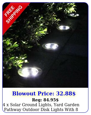 x solar ground lights yard garden pathway outdoor disk lights with le