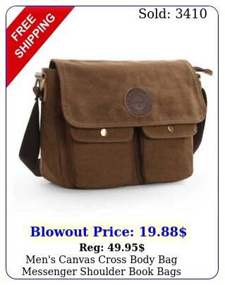 men's canvas cross body bag messenger shoulder book bags school satchel vintag