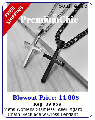 mens womens stainless steel figaro chain necklace w cross pendant silver gold b