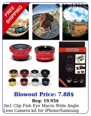 in clip fish eye macro wide angle lens camera kit iphonesamsung cellphon