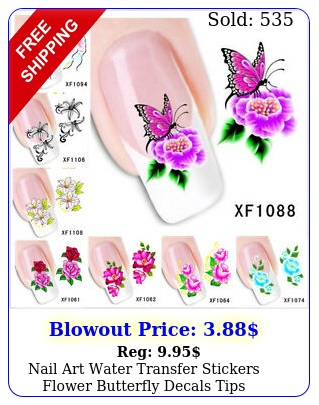 nail art water transfer stickers flower butterfly decals tips decoratio
