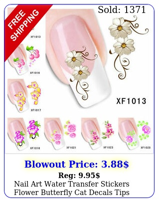 nail art water transfer stickers flower butterfly cat decals tips decoratio