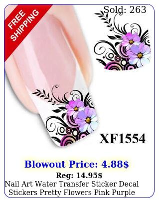 nail art water transfer sticker decal stickers pretty flowers pink purple x