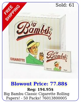 big bambu classic cigarette rolling papers  pack
