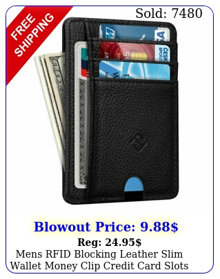 mens rfid blocking leather slim wallet money clip credit card slots coin holde