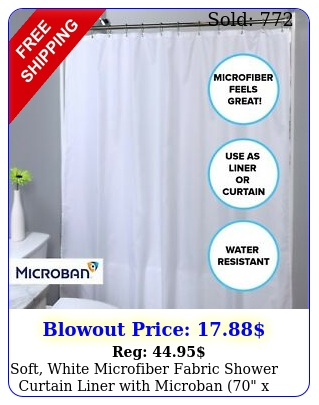 soft white microfiber fabric shower curtain liner with microban