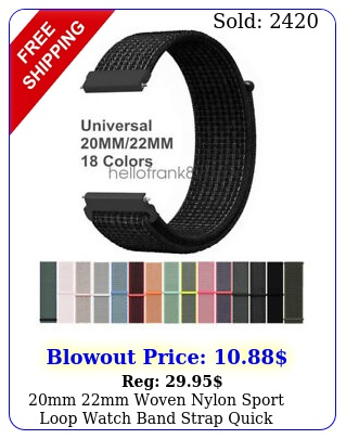 mm mm woven nylon sport loop watch band strap quick release spring pin