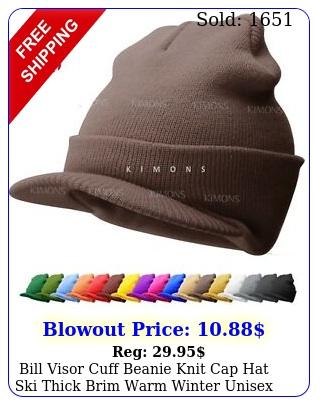 bill visor cuff beanie knit cap hat ski thick brim warm winter unisex us mad