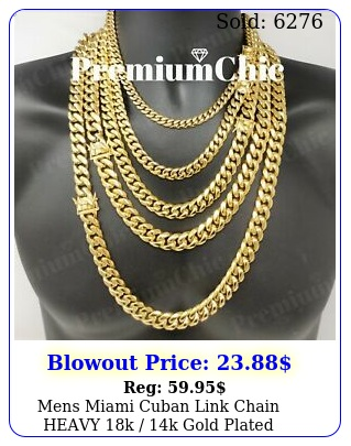 mens miami cuban link chain heavy k k gold plated stainless stee