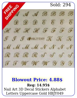 nail art d decal stickers alphabet letters uppercase gold hbj