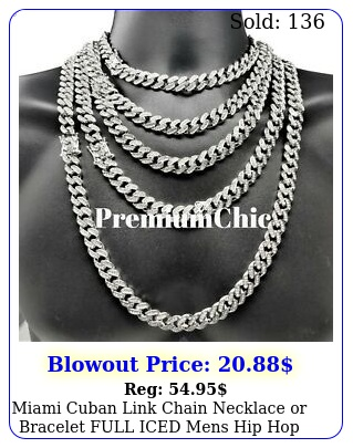miami cuban link chain necklace or bracelet full iced mens hip hop jewelr