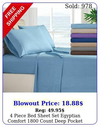 piece bed sheet set egyptian comfort count deep pocket stripe bed sheet