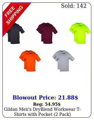 gildan men's dryblend workwear tshirts with pocket pac
