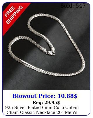silver plated mm curb cuban chain classic necklace men's women'