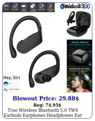 true wireless bluetooth tws earbuds earphones headphones ear hook headse